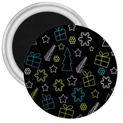 Xmas Pattern   Blue And Yellow 3  Magnets