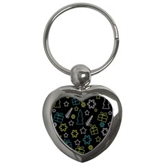 Xmas Pattern   Blue And Yellow Key Chains (heart)  by Valentinaart