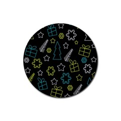 Xmas Pattern   Blue And Yellow Rubber Coaster (round)  by Valentinaart