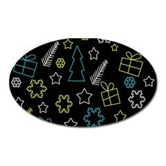 Xmas Pattern   Blue And Yellow Oval Magnet