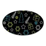 Xmas pattern - Blue and yellow Oval Magnet Front