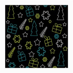 Xmas Pattern   Blue And Yellow Medium Glasses Cloth by Valentinaart