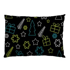 Xmas Pattern   Blue And Yellow Pillow Case by Valentinaart