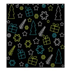 Xmas Pattern - Blue And Yellow Shower Curtain 66  X 72  (large)  by Valentinaart
