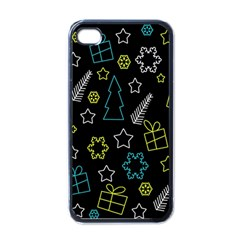 Xmas Pattern   Blue And Yellow Apple Iphone 4 Case (black) by Valentinaart