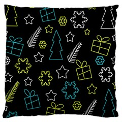 Xmas Pattern   Blue And Yellow Large Cushion Case (two Sides)