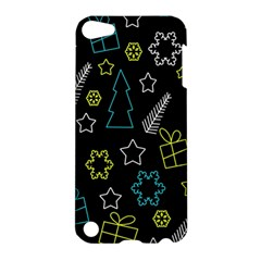 Xmas Pattern   Blue And Yellow Apple Ipod Touch 5 Hardshell Case