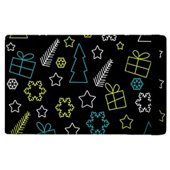 Xmas Pattern   Blue And Yellow Apple Ipad 2 Flip Case