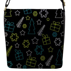 Xmas Pattern - Blue And Yellow Flap Messenger Bag (s) by Valentinaart