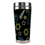 Xmas pattern - Blue and yellow Stainless Steel Travel Tumblers Left