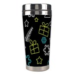 Xmas pattern - Blue and yellow Stainless Steel Travel Tumblers Right