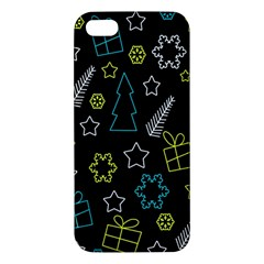Xmas Pattern   Blue And Yellow Iphone 5s/ Se Premium Hardshell Case