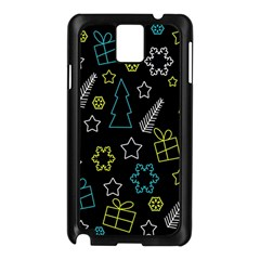 Xmas Pattern   Blue And Yellow Samsung Galaxy Note 3 N9005 Case (black)