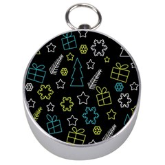 Xmas Pattern   Blue And Yellow Silver Compasses by Valentinaart