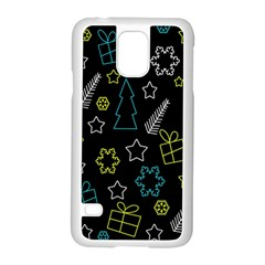 Xmas Pattern   Blue And Yellow Samsung Galaxy S5 Case (white)