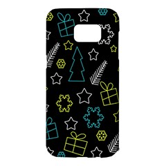 Xmas Pattern   Blue And Yellow Samsung Galaxy S7 Edge Hardshell Case