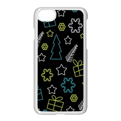 Xmas Pattern   Blue And Yellow Apple Iphone 7 Seamless Case (white) by Valentinaart