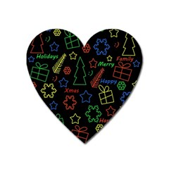 Playful Xmas Pattern Heart Magnet by Valentinaart