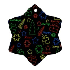 Playful Xmas Pattern Snowflake Ornament (2 Side) by Valentinaart