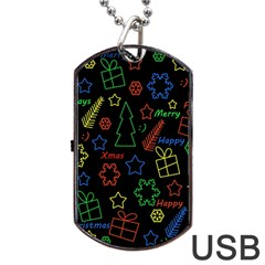 Playful Xmas Pattern Dog Tag Usb Flash (two Sides)  by Valentinaart