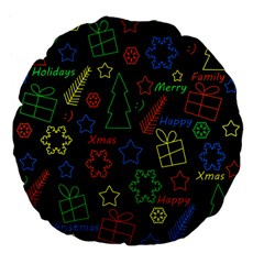 Playful Xmas Pattern Large 18  Premium Flano Round Cushions by Valentinaart