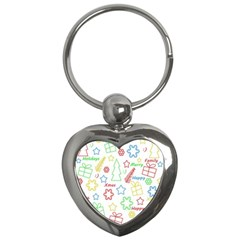 Simple Christmas Pattern Key Chains (heart)  by Valentinaart