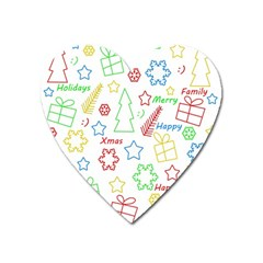 Simple Christmas Pattern Heart Magnet by Valentinaart