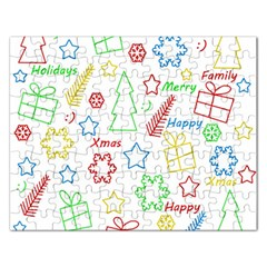 Simple Christmas Pattern Rectangular Jigsaw Puzzl by Valentinaart