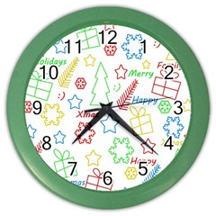Simple Christmas Pattern Color Wall Clocks by Valentinaart