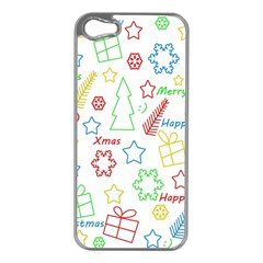 Simple Christmas Pattern Apple Iphone 5 Case (silver) by Valentinaart