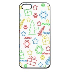 Simple Christmas Pattern Apple Iphone 5 Seamless Case (black) by Valentinaart