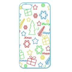 Simple Christmas Pattern Apple Seamless Iphone 5 Case (color) by Valentinaart