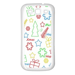 Simple Christmas Pattern Samsung Galaxy S3 Back Case (white) by Valentinaart