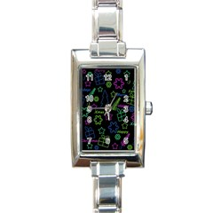 Decorative Xmas Pattern Rectangle Italian Charm Watch by Valentinaart
