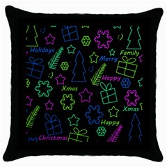 Decorative Xmas Pattern Throw Pillow Case (black) by Valentinaart