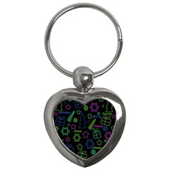 Decorative Xmas Pattern Key Chains (heart)  by Valentinaart