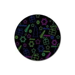 Decorative Xmas Pattern Rubber Coaster (round)  by Valentinaart