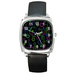 Decorative Xmas Pattern Square Metal Watch by Valentinaart
