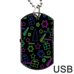 Decorative Xmas Pattern Dog Tag Usb Flash (one Side) by Valentinaart