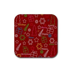 Red Xmas Pattern Rubber Coaster (square)  by Valentinaart
