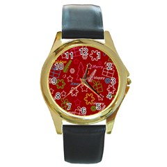 Red Xmas Pattern Round Gold Metal Watch by Valentinaart
