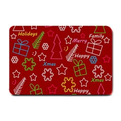 Red Xmas Pattern Small Doormat  by Valentinaart