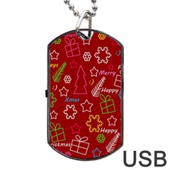 Red Xmas Pattern Dog Tag Usb Flash (one Side) by Valentinaart