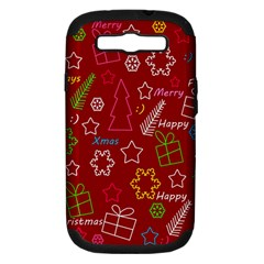 Red Xmas Pattern Samsung Galaxy S Iii Hardshell Case (pc+silicone) by Valentinaart