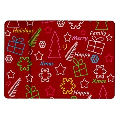 Red Xmas Pattern Samsung Galaxy Tab 10 1  P7500 Flip Case
