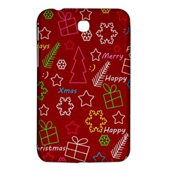 Red Xmas Pattern Samsung Galaxy Tab 3 (7 ) P3200 Hardshell Case  by Valentinaart