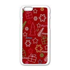 Red Xmas Pattern Apple Iphone 6/6s White Enamel Case by Valentinaart