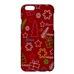 Red Xmas Pattern Apple Iphone 6 Plus/6s Plus Hardshell Case by Valentinaart