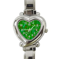Green Xmas Pattern Heart Italian Charm Watch by Valentinaart