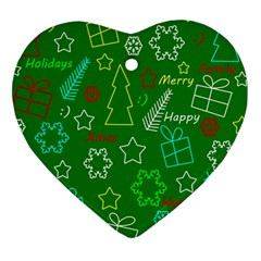 Green Xmas Pattern Heart Ornament (2 Sides) by Valentinaart